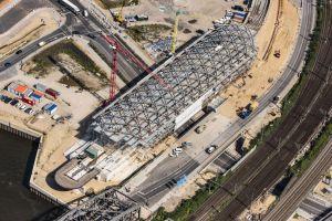 Baustelle zum Neubau der Haltestelle Elbbrücken der U-Bahnlinie 4 in Hamburg, Deutschland
